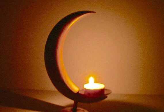 tealight in new moon candle holder