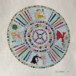 Colored mandala with images of maiden, mother, amazon and crone